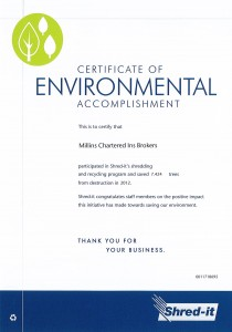 Millin Insurance Shredding saves trees